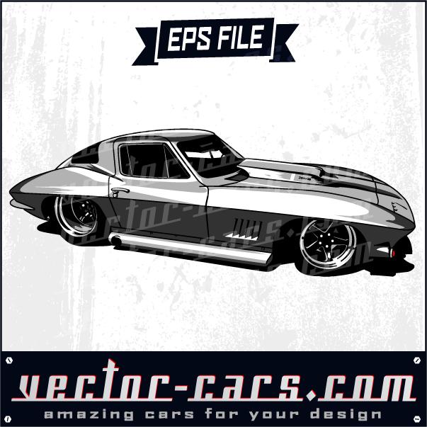 silver corvette exclusive car clipart